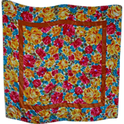 Colorful Bright Cheerful Mixed Floral Scarf Wearable ART