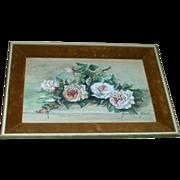 Shabby Chic Velvet Framed Decorative Signed Roses Picture