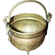 Small Primitive  Brass Footed Cauldron with Original Handle