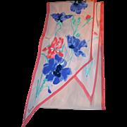 SALE Vintage Designer Signed Vera Neumann Floral Wing Tip Scarf