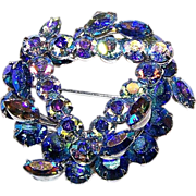 SALE Wonderful Designer Signed KEYES Blue Rhinestone Brooch