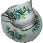 SOLD Queen Anne Vintage Tea Cup & Saucer Blue Aster Floral Motif