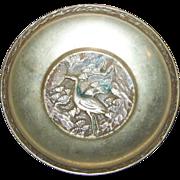 Small Decorative  Vintage Solid Brass Heron Egret  Stork Bird Theme Bowl Korea