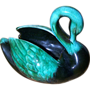 Funky Retro Green BMP Blue Mountain Pottery Swan Figurine