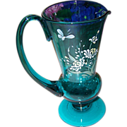 SALE What A Lovely Blue Pontil Jug Enamel Painted Butterfly Floral