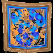 Pretty Vintage Floral Motif Ladies 100 % Silk Scarf