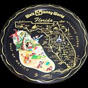 Vintage Collectible Souvenir Metal Tray Walt Disney World Florida