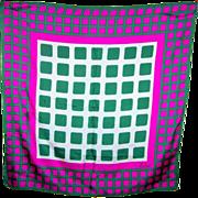 A Op Art Designer Signed ECHO Geometric Pattern  Ladies Mod Style Scarf