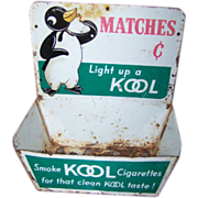 Collectible Advertising Store Display Tin Litho KOOL MATCHES Dispenser Match Holder
