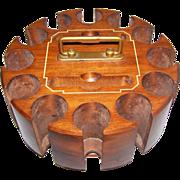 Vintage DRUEKE Wood Wooden Poker Chip Card Caddy Carousel