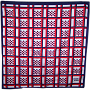 SALE Patriotic Red White and Blue Designer Signed Lillian Vernon Scarf