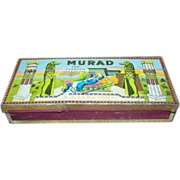 SALE Advertising Murad Smoking Tobacco Tin Turkish Deco 1920s Egypt Pyramids