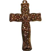 Embossed Metal Ware Floral Repousse Art Nouveau Cross Crucifix Pendant