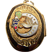 Small Daughters of Rebekah Odd Fellows Masonic Fraternal enamel  Locket Charm Pendant