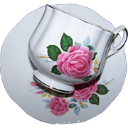 Pretty Pink Rose Floral Motif Tea Cup Saucer Set Royal Dover
