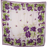 Lovely Vintage Purple FLower Floral Ladies Crepe Silk Scarf