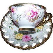 Pretty Red Red Yellow Roses Lustre Ware Pierced Reticulated Tea Cup Saucer Set Shafford