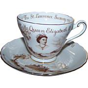 SOLD Souvenir Historical Tea Cup Saucer Set  Tuscan China England 1959 St Lawrence Seaway Quee
