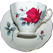 SOLD Beautiful Vintage Royal Albert Tea Cup Saucer Set Sweet Romance Red Rose