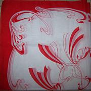 SOLD Vintage Designer Signed Patricia Dumont Scarf Red & White