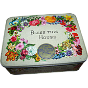 SALE Advertising Tin Box BLESS THIS HOUSE Carr's of Carlisle Assorted Biscuits  England