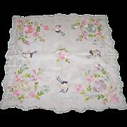 Beautiful Embroidery Floral Bird Motif Small silk Hanky Hankie Handkerchief