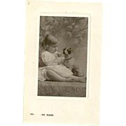 "Charming Real Photo Post Card "" Say Please ""  Little Girl and Puppy Dog Bamford & Co"