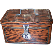 Vintage Advertising Tin Chest Lunch  Box Faux wood Art Deco Pattern Sovereign Chocolate Eclair