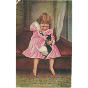 """AS IS SO Charming""""Sharing A Meal """" Little Girl Feeding Her Kitty Cat Milk Post Card"""