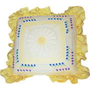 SOLD Pretty Vintage Bright Yellow Glazed Cotton and Crochet Home Decor Pillow