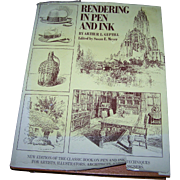 "Over Size Hard Cover   Illustrated Book "" Rendering in Pen and Ink "" A.L. Gupatill"
