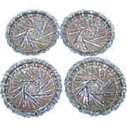 Set of Four Vintage Mid Century Bohemia Czech Pinwheel Crystal Coasters