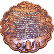 SOLD Retro Vintage Kitsch Decor Kitchen Prayer Chalkware Plaque God Bless My Little Kitchen