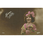"""Charming Vintage Tinted Post Card Postcard Bonne Fete Little Girl with Flowers """"  Gloria"""