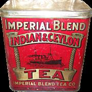 Imperial Blend Advertising  Litho Tea Tin Hamilton Steam Sailing Ship  Brantford Woodstock Lon