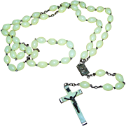 SALE PENDING Vintage Made in Italy Glow In The Dark Long Plastic Style Rosary Bead Beads  Reli