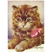 """Charming Vintage Postcard Post Card Kitten Kitty Cat """" Wishing You The Best of Luck """""""