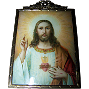 Vintage Decorative Metal Ware  Framed Holy Jesus Print