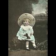 Charming Vintage Real Photograph Post Card Postcard Little Girl Wearing Bonnet