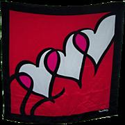 Lovely Large Designer Diane Von Faustenberg  Signed Ladies Scarf Heart Pattern