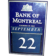 Collectible Wall Art Bank of Montreal Calendar Vintage Enamel Tin Sign