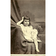 Unusal Cabinet Card Photo Chubby Little Girl Cross Crucifix Necklace Palace  R.R. Photography