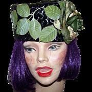 Pretty Black Pill Box Style Hat Fascinator Original by Leopold  Montreal Canada