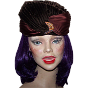 Movie Star Glam  Vintage 60's era Brown  Velvet  Silk Turban Style Ladies Fashion Hat