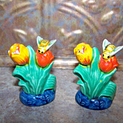 SALE Majolica Style Colorful Ceramic Salt & Pepper Shakers MIJ