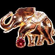 SALE Swan Logo Signed Swarovski Crystal Rhinestone Lucky Circus Elephant Pin