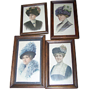 4 Vintage Framed Ladies of Fashion  Home Decor Wall Art Prints Hat Themed