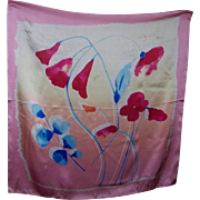 Lovely  Quality Vintage Silk Scarf Impressionist Style  Floral Motif