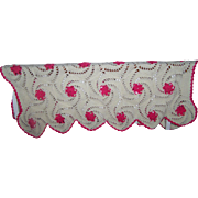 Oh So Pretty Hand Made Crochet Off White With Pink Floral Accents Blanket