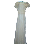 A Vintage Lace &  Sheer Tulle Off White Long Wedding Dress with Train